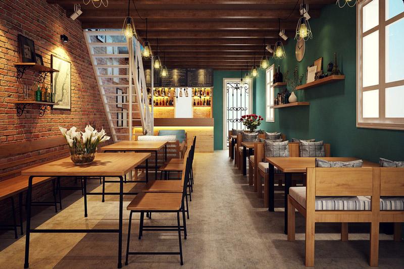 phong cách mộc - nội thất quán cafe